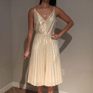 Light gold metallic pleated dress